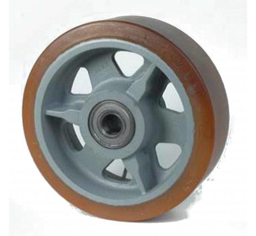 Ruedas de alta capacidad poliuretano Vulkollan® bandaje núcleo de rueda de hierro fundido, cojinete de bolas de precisión, Rueda-Ø 350mm, 65KG