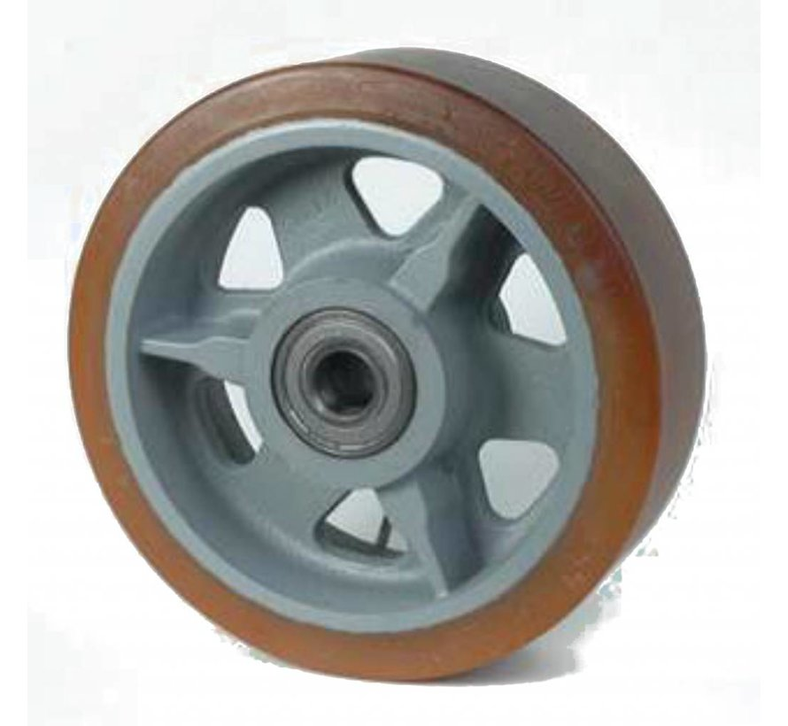 heavy duty Vulkollan® Bayer tread cast iron, precision ball bearing, Wheel-Ø 300mm, 130KG