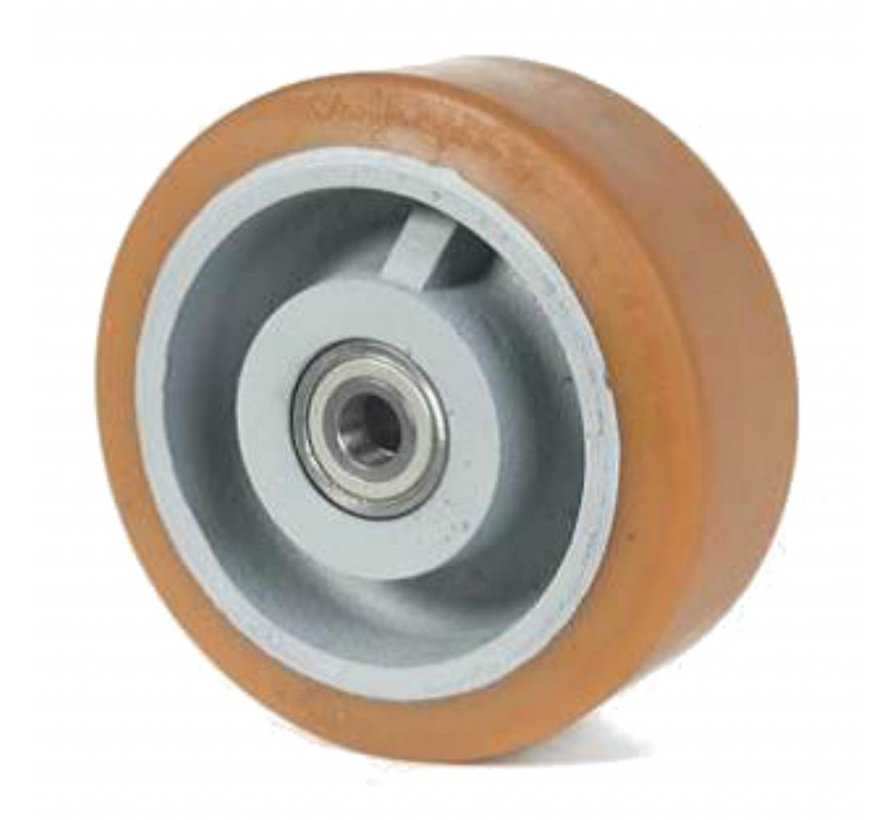 heavy duty Vulkollan® Bayer tread cast iron, precision ball bearing, Wheel-Ø 300mm, 65KG