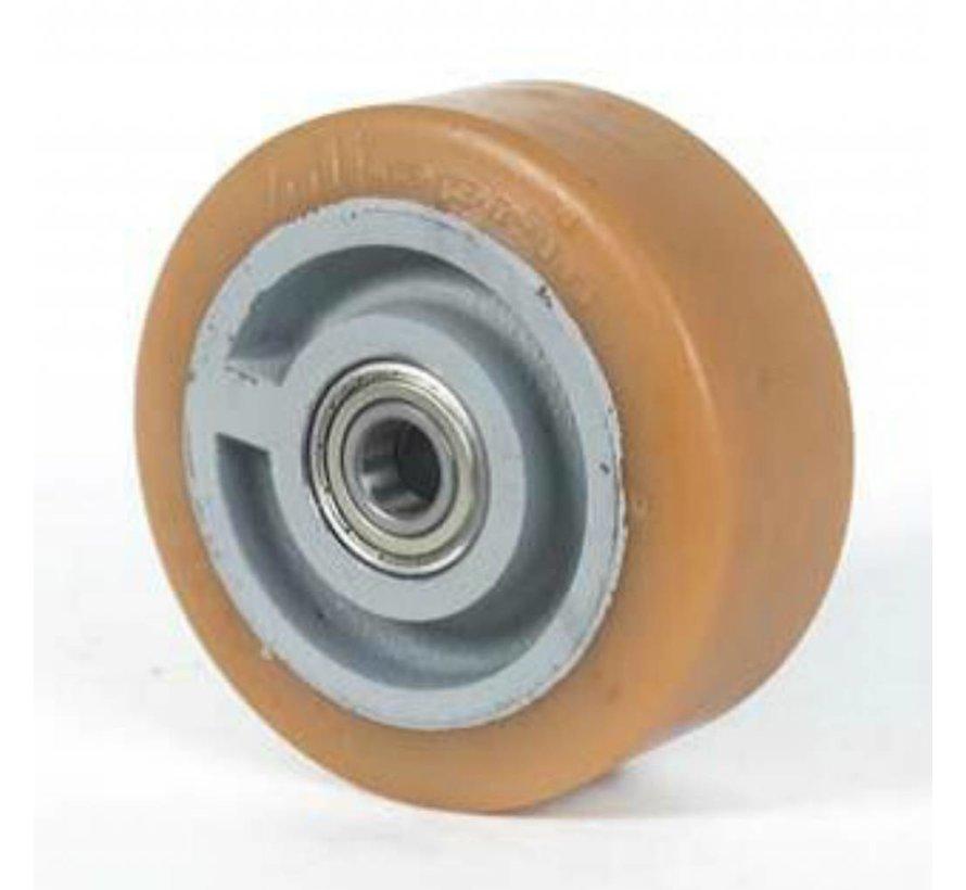 Ruedas de alta capacidad poliuretano Vulkollan® bandaje núcleo de rueda de hierro fundido, cojinete de bolas de precisión, Rueda-Ø 250mm, 300KG