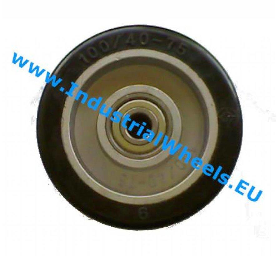 Industrial Wheel from elastic-tyre, precision ball bearing, Wheel-Ø 125mm, 200KG