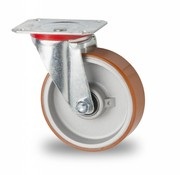 Drejeligt hjul, Ø 125mm, Vulkaniseret Polyuretan, 200KG