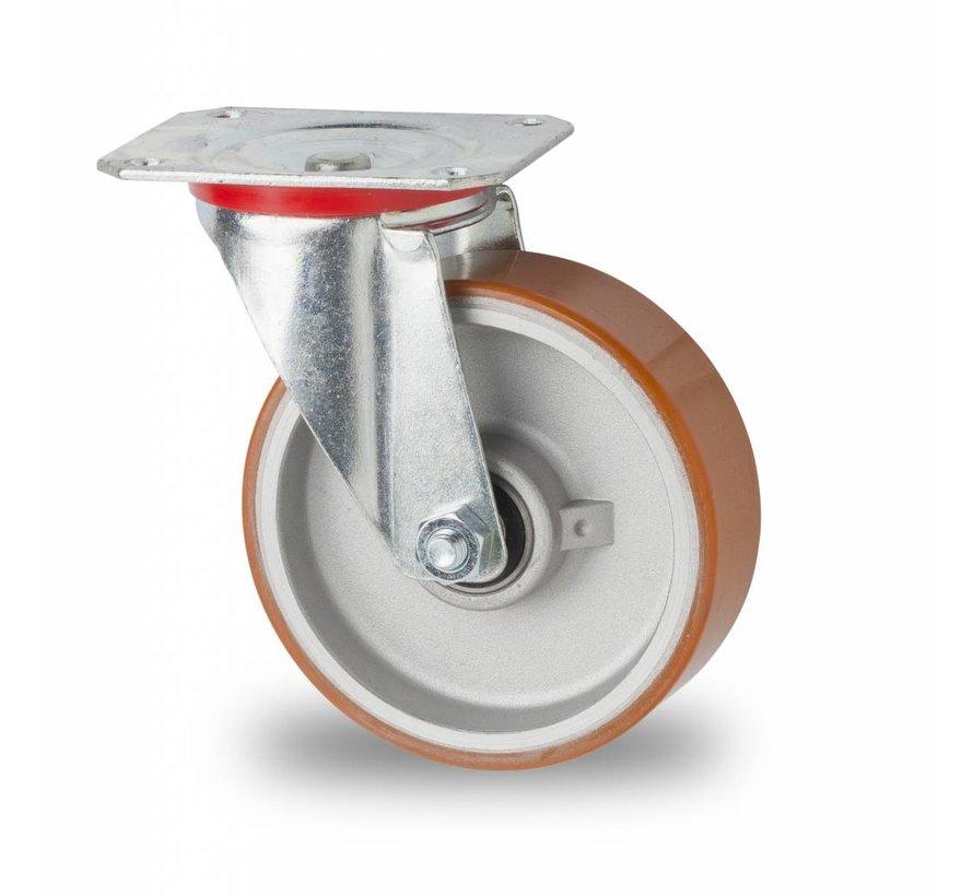 Industrial Swivel caster from pressed steel, plate fitting, Vulcanized Polyurethane tread, precision ball bearing, Wheel-Ø 125mm, 200KG