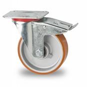 Lenkrolle mit Feststeller, Ø 125mm, Vulkanisierte gegossenem Polyurethane Laufflache, 200KG