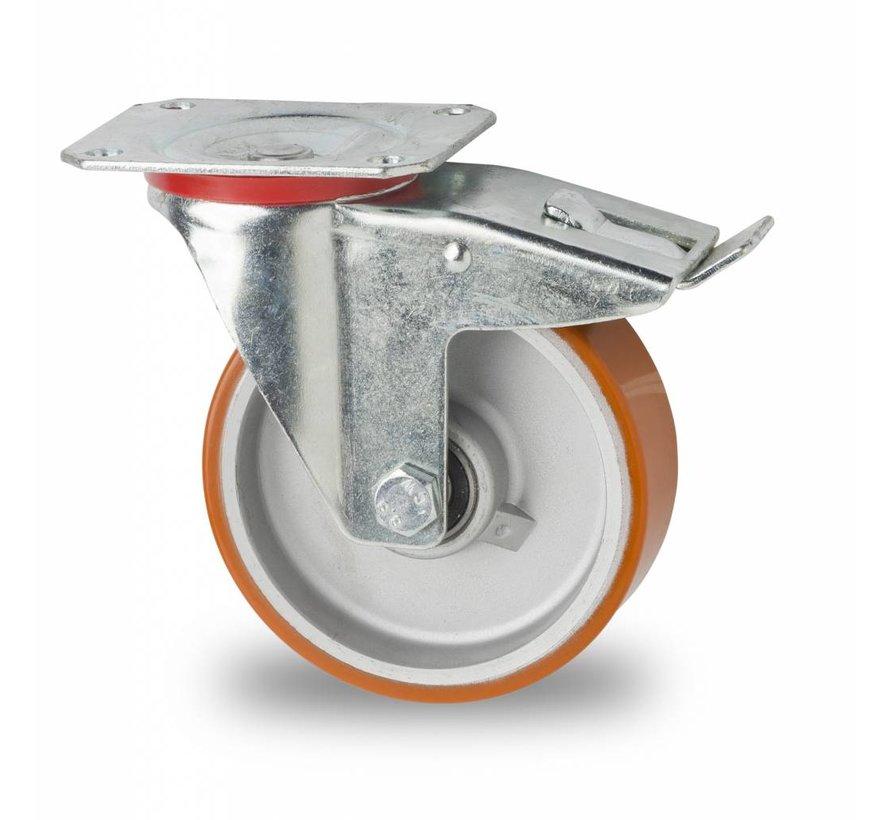 Ruedas para transporte industrial Rueda giratoria con freno chapa de acero, pletina de fijación, Bandaje polyuréthane vulcanizada, cojinete de bolas de precisión, Rueda-Ø 125mm, 200KG