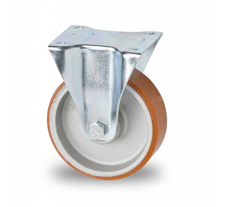 Ruedas para transporte industrial Rueda fija chapa de acero, pletina de fijación, Bandaje polyuréthane vulcanizada, cojinete de bolas de precisión, Rueda-Ø 125mm, 200KG