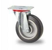 Ruota girevole, Ø 125mm, gomma elastica, 200KG