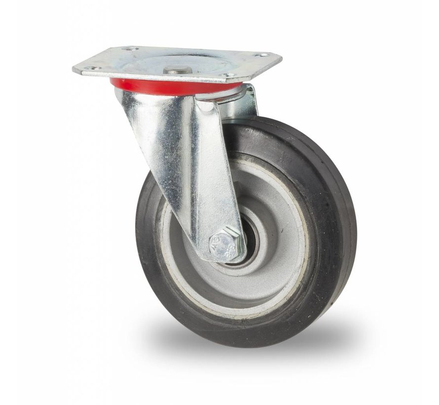 Industrial Swivel caster from pressed steel, plate fitting, elastic-tyre, precision ball bearing, Wheel-Ø 125mm, 200KG