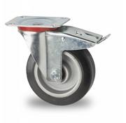 Roda giratória travão, Ø 125mm, goma vulcanizada, 200KG