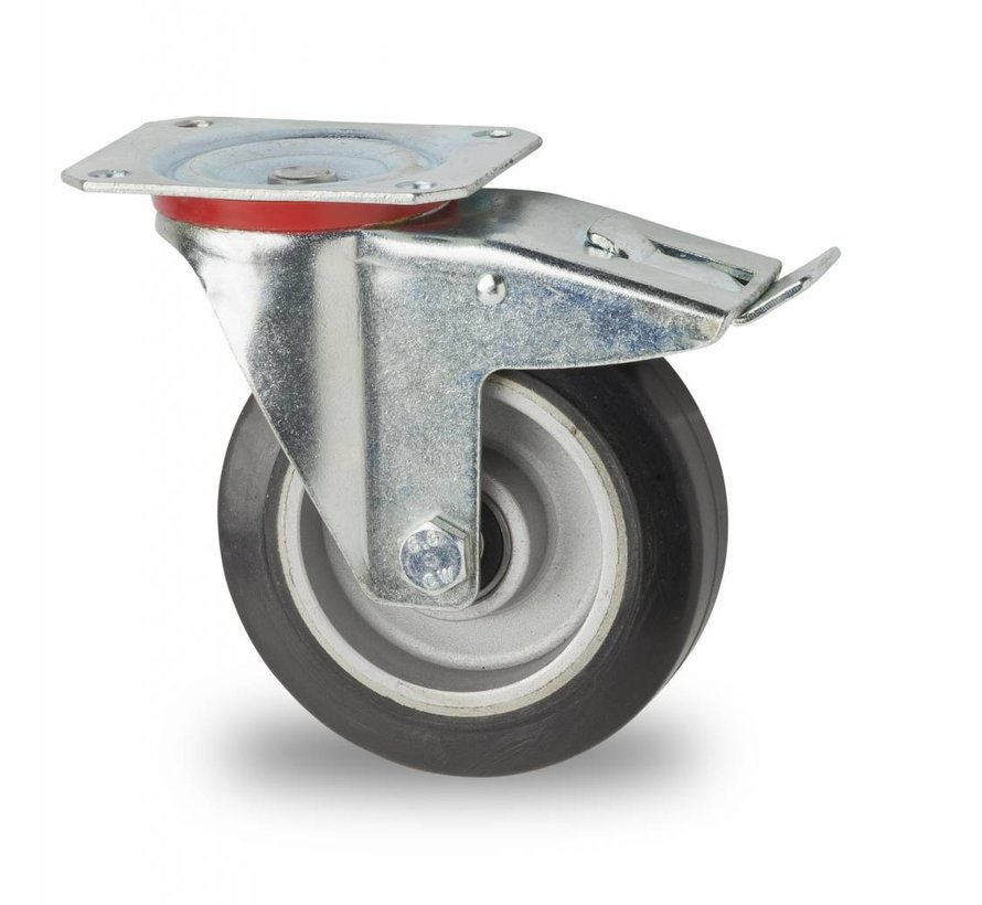 Industrial Swivel caster with brake from pressed steel, plate fitting, elastic-tyre, precision ball bearing, Wheel-Ø 125mm, 200KG