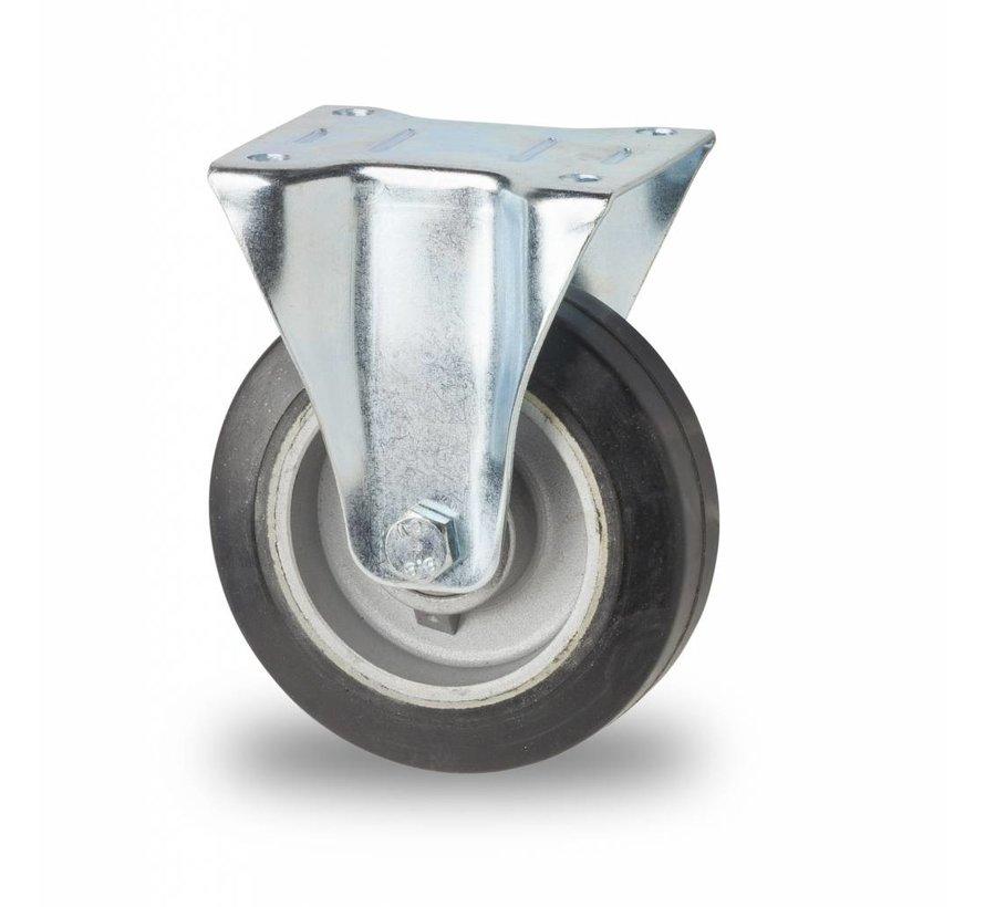 Ruedas para transporte industrial Rueda fija chapa de acero, pletina de fijación, goma elástica, cojinete de bolas de precisión, Rueda-Ø 125mm, 200KG