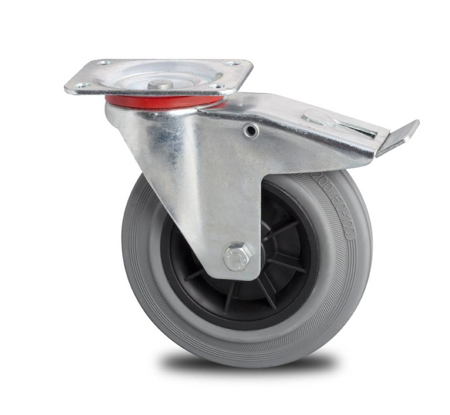 Transportgeräte Lenkrolle mit  Feststeller aus Stahlblech, Plattenbefestigung, grauer Gummibereifung, Rollenlager, Rad-Ø 200mm, 230KG