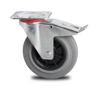 rolka skretna z blokadą, Ø 100mm, Kauczukowe obręcze kół czarny, 80KG