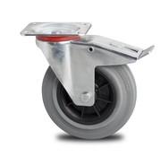 roulette pivotante avec blocage, Ø 100mm, plein en caoutchouc standard gris, 80KG