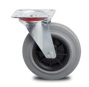 rueda giratoria, Ø 200mm, goma gris, 230KG