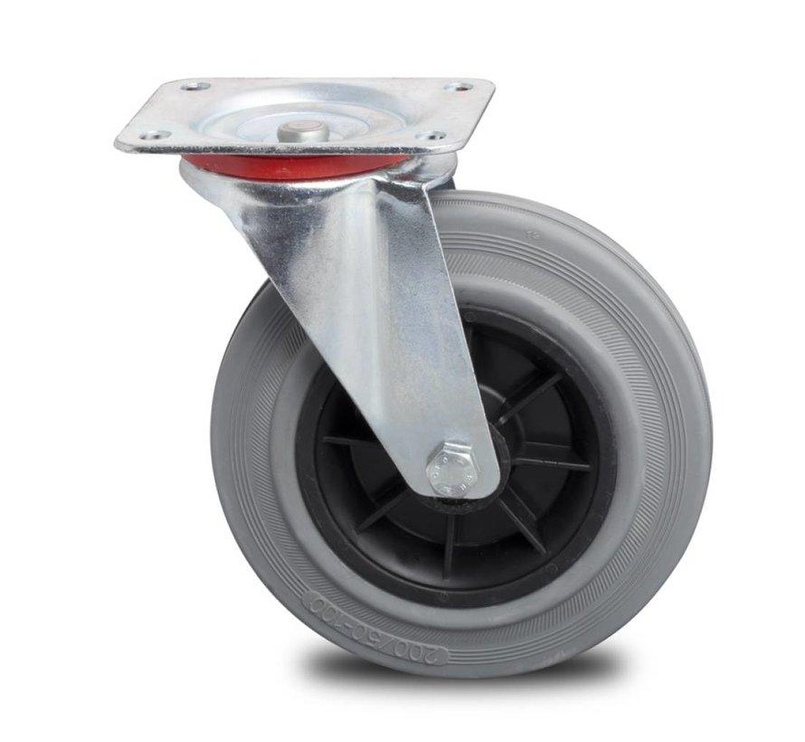 Transportgeräte Lenkrolle aus Stahlblech, Plattenbefestigung, grauer Gummibereifung, Rollenlager, Rad-Ø 200mm, 230KG