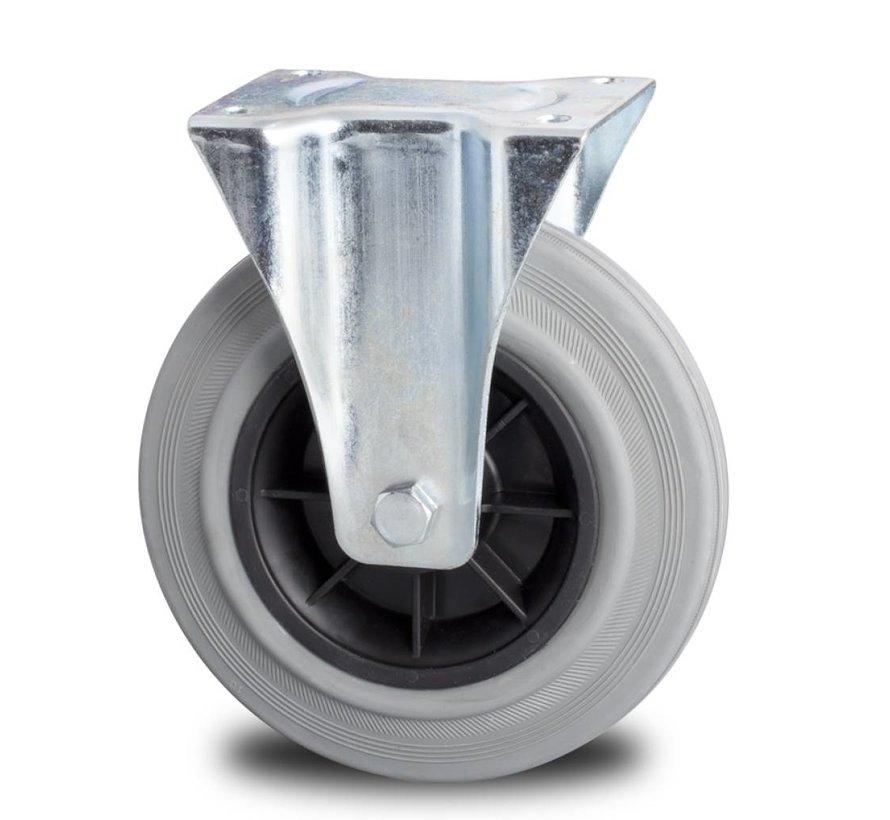 carrelli per movimentazione industriale ruota fissa per  lamiera stampata, piastra vite, gomma grigia, mozzo su cuscinetto a rulli, Ruota -Ø 200mm, 230KG