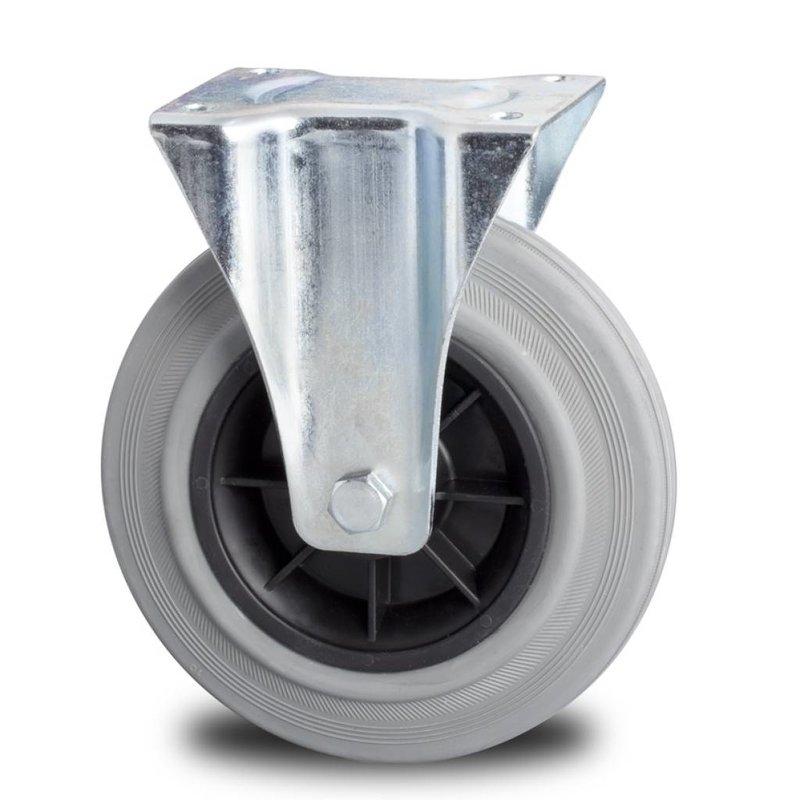 Fast hjul, Ø 100mm, massiv grå gummi, 80KG