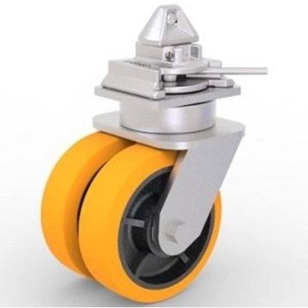 Shipping container castors  with twist-lock