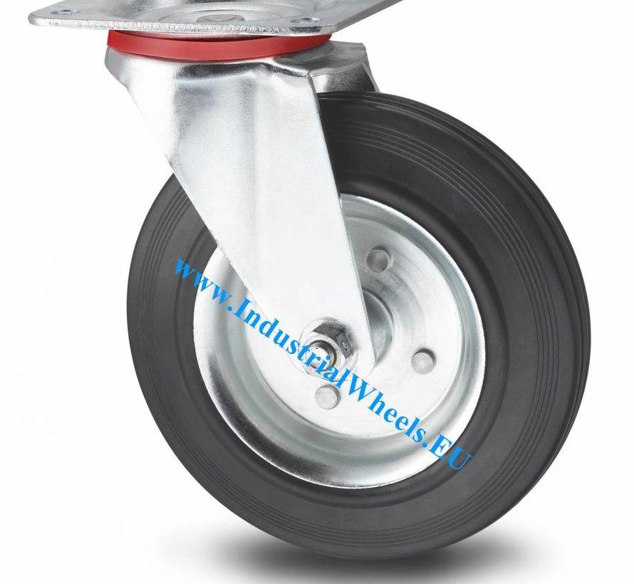 Roulettes industrielles Roulette pivotante de acier embouti, Fixation à platine, caoutchouc semi-élastique noir, roulements rouleaux, Roue-Ø 125mm, 100KG