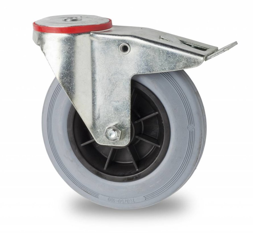 industrial swivel castor with brake from pressed steel, bolt hole, rubber, gray, roller bearing, Wheel-Ø 200mm, 230KG