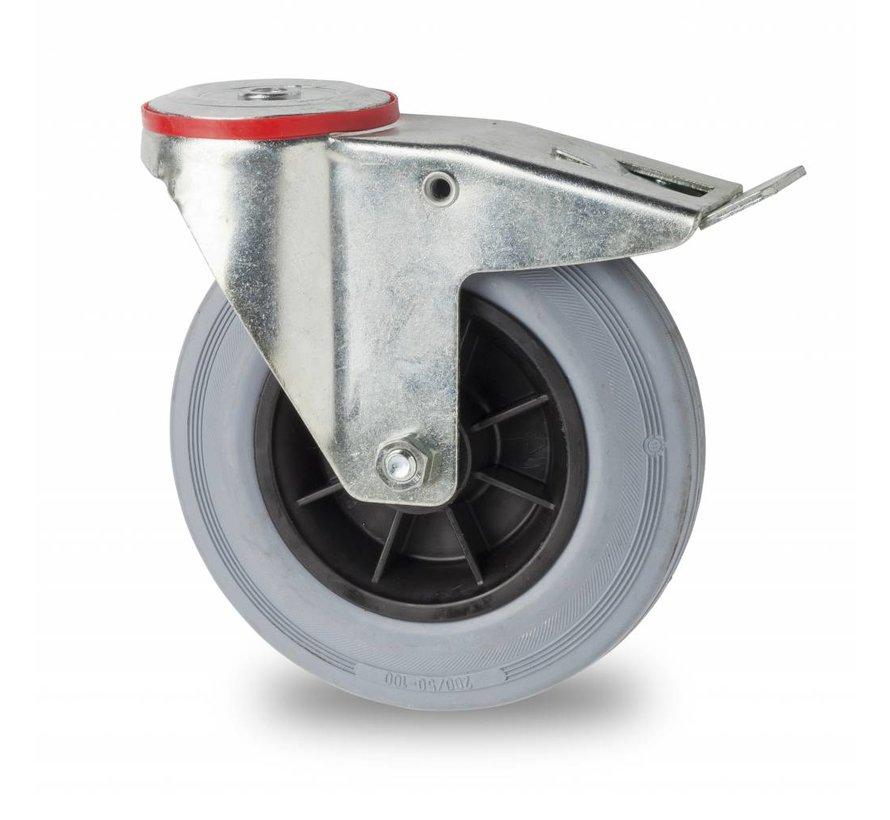 industrial swivel castor with brake from pressed steel, bolt hole, rubber, gray, roller bearing, Wheel-Ø 200mm, 230KG