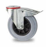 Transporthjul drejelig hjul  med bremse af Stål, boltmontering, massiv grå gummi, rulleleje, Hjul-Ø 125mm, 130KG
