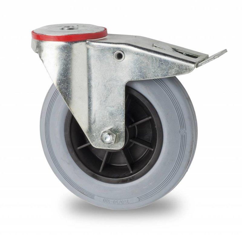 drejelig hjul  med bremse, Ø 160mm, massiv grå gummi, 180KG