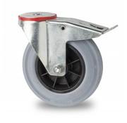 supporto rotante con freno, Ø 100mm, gomma grigia, 80KG