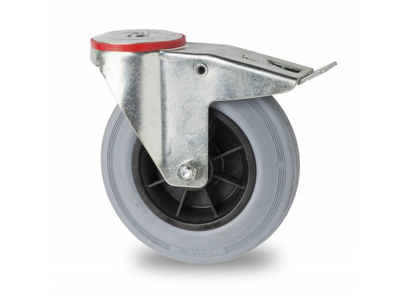 Transporthjul drejelig hjul  med bremse af Stål, boltmontering, massiv grå gummi, rulleleje, Hjul-Ø 80mm, 65KG