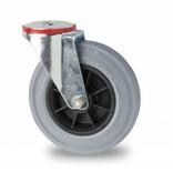 Transporthjul drejelig hjul  af Stål, boltmontering, massiv grå gummi, rulleleje, Hjul-Ø 200mm, 230KG