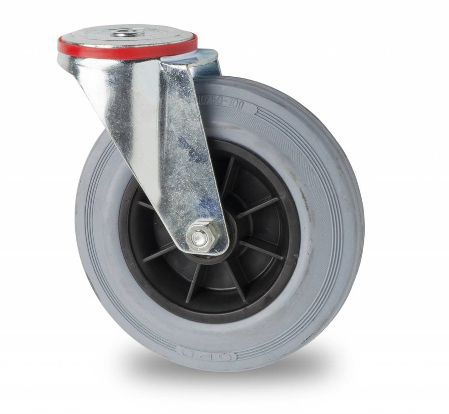 roulettes industrielles roulette pivotante de acier embouti, fixation à trou, plein en caoutchouc standard gris, roulements rouleaux, Roue-Ø 200mm, 230KG