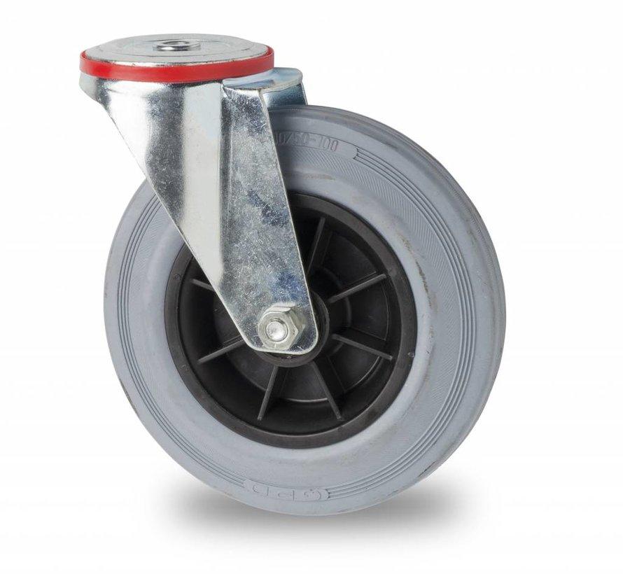 Transportgeräte Lenkrolle aus Stahlblech, Rückenloch, grauer Gummibereifung, Rollenlager, Rad-Ø 200mm, 230KG