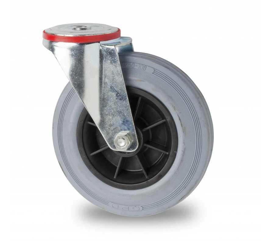 industrial swivel castor from pressed steel, bolt hole, rubber, gray, roller bearing, Wheel-Ø 200mm, 230KG