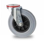 drejelig hjul , Ø 160mm, massiv grå gummi, 180KG