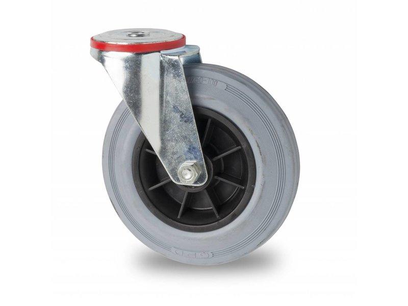 Transporthjul drejelig hjul  af Stål, boltmontering, massiv grå gummi, rulleleje, Hjul-Ø 125mm, 130KG