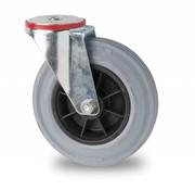 roulette pivotante, Ø 100mm, plein en caoutchouc standard gris, 80KG