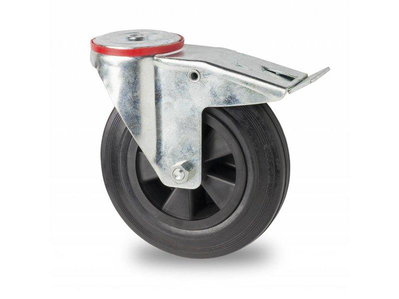 Transportgeräte Lenkrolle mit  Feststeller aus Stahlblech, Rückenloch, Vollgummi, schwarz, Rollenlager, Rad-Ø 160mm, 180KG