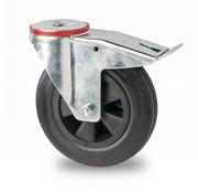 drejelig hjul  med bremse, Ø 125mm, Massiv sort gummi, 100KG