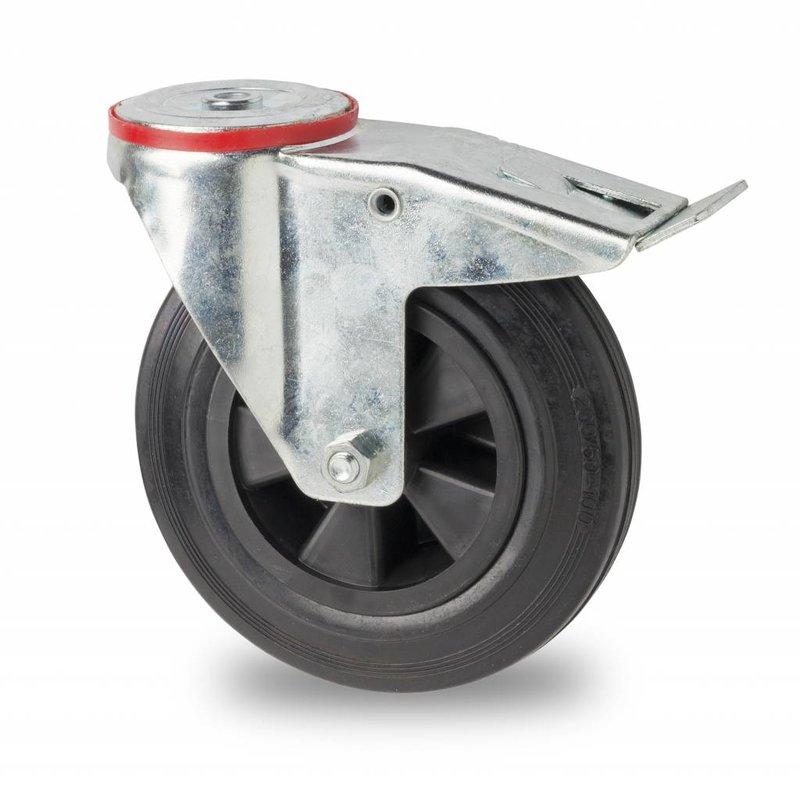 Lenkrolle mit  Feststeller, Ø 125mm, Vollgummi, schwarz, 100KG