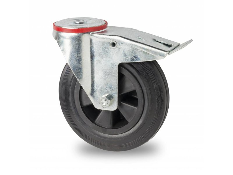 Transportgeräte Lenkrolle mit  Feststeller aus Stahlblech, Rückenloch, Vollgummi, schwarz, Rollenlager, Rad-Ø 100mm, 80KG