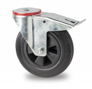 swivel castor with brake, Ø 80mm, rubber, black, 65KG