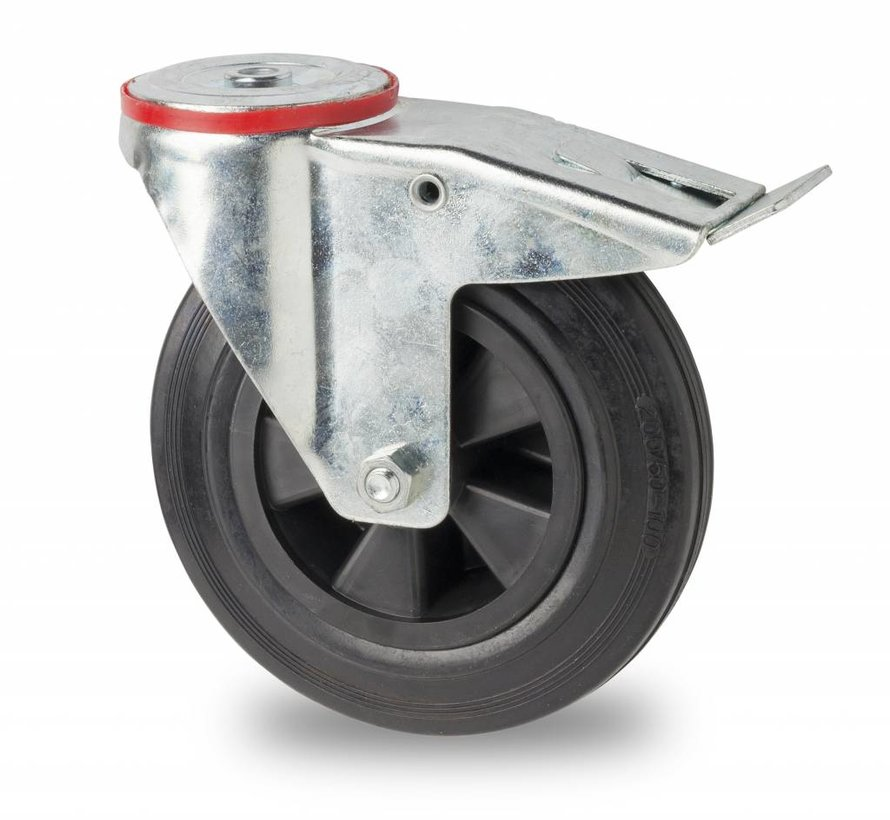 industrial swivel castor with brake from pressed steel, bolt hole, rubber, black, roller bearing, Wheel-Ø 80mm, 65KG