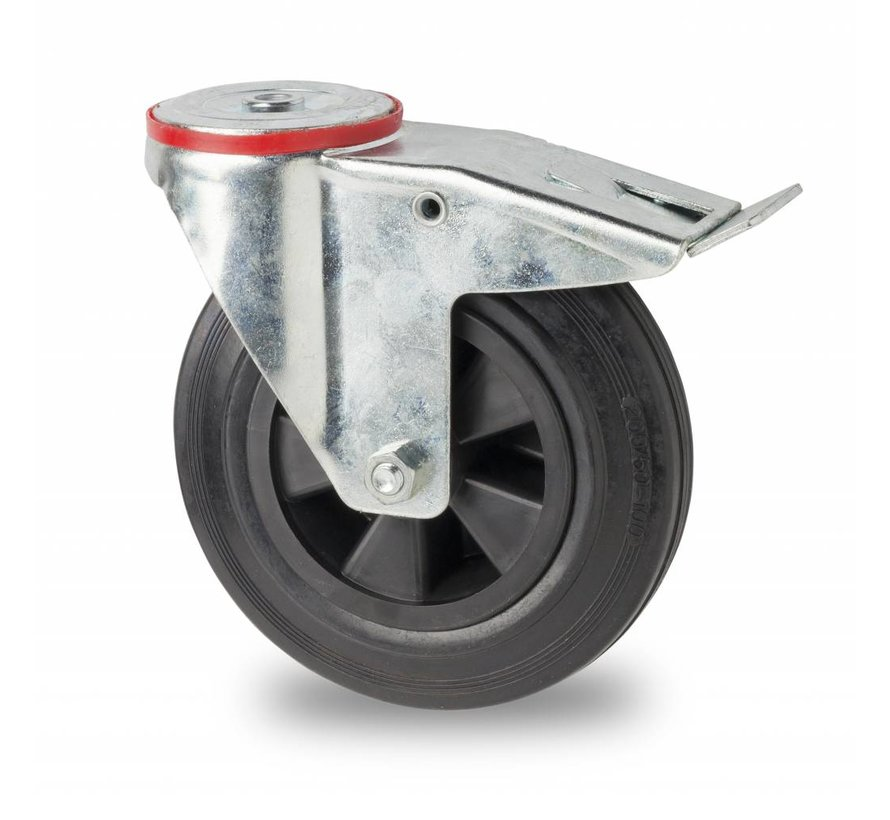 Transporthjul drejelig hjul  med bremse af Stål, boltmontering, Massiv sort gummi, rulleleje, Hjul-Ø 80mm, 65KG