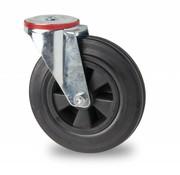 roulette pivotante, Ø 200mm, plein en caoutchouc standard noir, 200KG