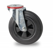 swivel castor, Ø 200mm, rubber, black, 200KG