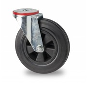 drejelig hjul , Ø 200mm, Massiv sort gummi, 200KG