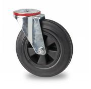 swivel castor, Ø 200mm, rubber, black, 200KG
