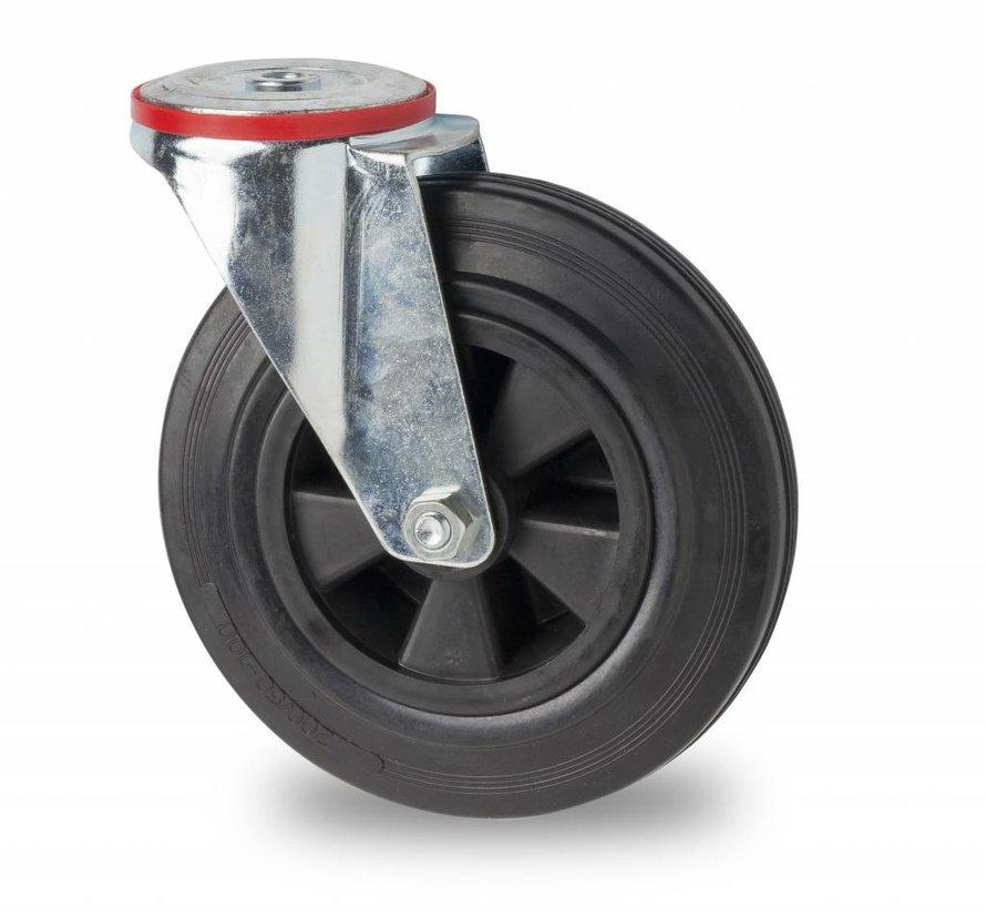 roulettes industrielles roulette pivotante de acier embouti, fixation à trou, plein en caoutchouc standard noir, roulements rouleaux, Roue-Ø 200mm, 200KG