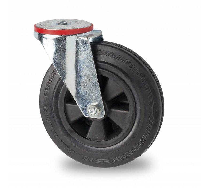 industrial swivel castor from pressed steel, bolt hole, rubber, black, roller bearing, Wheel-Ø 200mm, 200KG